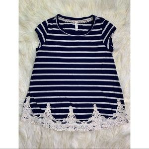 Xhilaration - Lace Trim Striped Top
